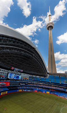 Toronto, Ontario, Rogers Centre (Yes spelled correctly, that's how we spell it in Canada) Home of the Toronto Blue Jays Toronto Ontario Canada, Toronto City, Toronto Travel, Ottawa, Baseball Park, Baseball Games, Baseball Stuff, Blue Jays Game, Rogers Centre