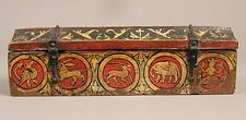 Painted Box for Game Pieces  Date: ca. 1300 Geography: Made in, Upper Rhine region, Germany Culture: German Medium: Wood, polychromy and metal mounts Dimensions: Overall: 3 1/8 x 10 3/8 x 3 5/8 in. (7.9 x 26.4 x 9.2 cm) Classification: Woodwork-Furniture Credit Line: Purchase, Gift of J. Pierpont Morgan, by exchange, 1976 Accession Number: 1976.327  This artwork is not on display