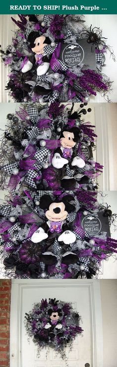 READY TO SHIP! Plush Purple Vampire Mickey Mouse Halloween Wreath Decor Disney, Birthday, Anniversary, Gift, Door Decoration. Oh my goodness, is it wrong to fall in love with my own wreath?? If you think this looks awesome from the photo, wait until you see it in person. The pictures really don't do it justice! Please note that I have a matching Minnie Mouse wreath for sale as well. Sold separately. A gorgeous must have pair of wreaths, especially if you have double doors. Roughly…