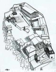 Greece Architecture, Ancient Greek Architecture, Gothic Architecture, Greece Drawing, Acropolis Greece, Egyptian Drawings, Greece Mythology, Greek History, Parthenon
