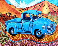 Blue Truck by Sally Bartos (bartos on Etsy)