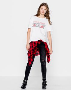 Pull&Bear - mujer - trends - teen girls collection - camiseta guns and roses - hielo - 09246367-I2016
