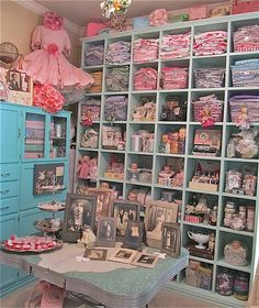 Lillys Lace studio~ Look at all that wonderful storage space!