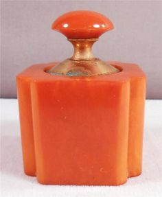 Beautiful Vintage Art Deco Butterscotch Bakelite Vanity Perfume Bottle