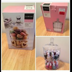 this glass jar is perfecting for organizing accessories and displaying treats! Diy Storage, Bathroom Organization, Makeup Organization, Storage Ideas, Dresser In Closet, Vase Crafts, Home Board, Cosmetic Storage, Makeup Rooms