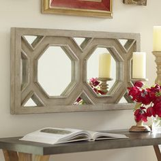 Hexa Wall Mirror | A geometric overlay of antiqued-gray moldings adds depth and interest to this rectangular wall mirror.