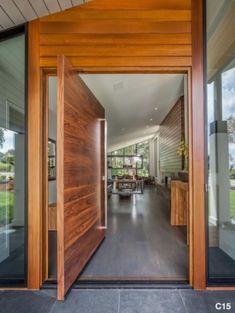 Horizontal Grain Flat Pivot Door made out of Walnut hardwood with a Square Pull Bar Flat Interior, Home Interior, Interior And Exterior, Interior Decorating, Decorating Ideas, Pivot Doors, Entry Doors, Front Doors, Entryway