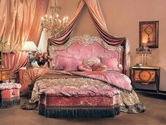 Victorian Bedroom: rich colors, elaborate drapes, floral patterns, lots of trims, very ornamental Victorian Bedroom, Victorian Decor, Dream Rooms, Dream Bedroom, Peach Bedroom, Fantasy Bedroom, Deco Rose, Pink Room, My New Room