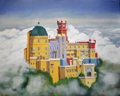 O Palácio dos Sonhos (The Dreams' Palace), Sintra, Portugal. 2016 Óleo sobre tela (Oil on canvas), 100x80x2 cm  (contact: Artmajeur or Facebook at www.facebook.com/ines.dourado)