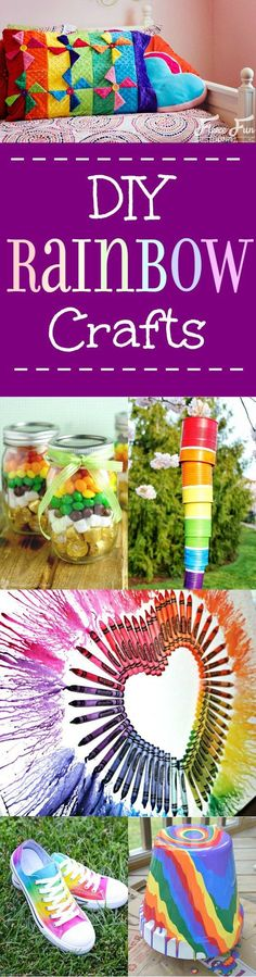 32 DIY Rainbow Crafts Pretty and fun DIY Rainbow Crafts. The BEST DIY Rainbow Crafts from indoor and outdoor decorations to fashion, headbands, and totes. These rainbow crafts will brighten up your life, and you'll love them all! Craft Stick Crafts, Crafts To Make, Fun Crafts, Crafts For Kids, Paper Crafts, Quick Crafts, Amazing Crafts, Rainbow Drawing, Rainbow Painting