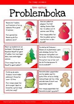 Adventskalender 2015 | Femoverfire Christmas Math, Christmas Crafts, Teaching Math, Maths, Word Problems, English Lessons, Kids Education, Kids And Parenting, Crafts For Kids
