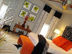 HGTV: Teen Bedroom  Inspiring Element  The bold orange and green accents pop against the black-and-white accessories in this bedroom. RMS user Colorblaster used the window treatment as the inspiration for making the curtains, headboard and pillows.