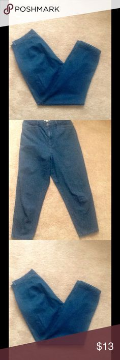 Vintage Blue Cotton Jean look Pant Size 8 Measurements in comments. Talbots Jeans