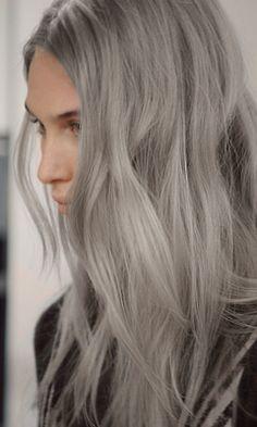 fashion Model Backstage long hair colored hair dyed hair e dip dye silver hair messy hair grey hair edited hair