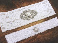 Wedding Garter Set w/ Rhinestone Brooch Stretch by BrilliantBride