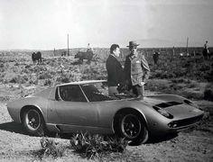 At the Miura bullfarm in Spain, Ferruccio Lamborghini presents Mr. Miura with the car named after his prized bulls.