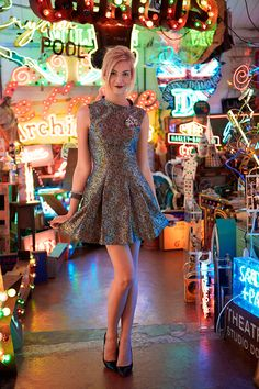 Get the party well and truly started in this gorgeous jacquard skater dress. Team yours with a sparkly broach for extra style points. #makebelieve #Christmas