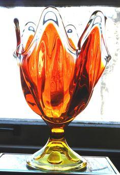 Vintage Amberina Glass Pedestal Dish