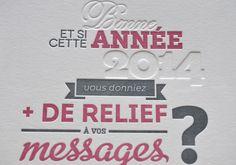 Carte de voeux pour l'agence Rédactionn'Elle : 2 couleurs + débossage pur - Imprimé par Letterpress.fr
