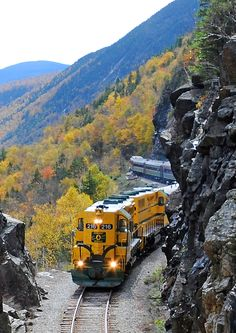 """www.conwayscenic.com.  The Notch Train approaching the """"Gateway"""" at the height of the land in Crawford Notch."""