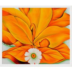 Yellow Hickory Leaves with Daisy by Georgia O'Keeffe Framed Wall Art
