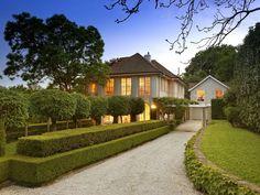 classic & elegant garden, front yard garden design, hedged landscape - homehound.com.au