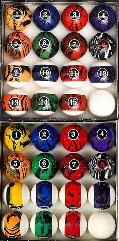 Complete Ball Sets 75193: Pool Table Billiard Ball Set, Dark Color Marble Swirl BUY IT NOW ONLY: $61.5