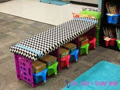 Or a DIY crate bench. | 35 Cheap And Ingenious Ways To Have The Best Classroom Ever
