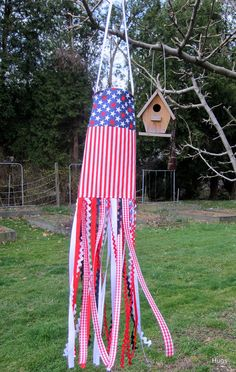 Red White and Blue Patriotic Wind Sock USA by HugsandStitches, $12.00