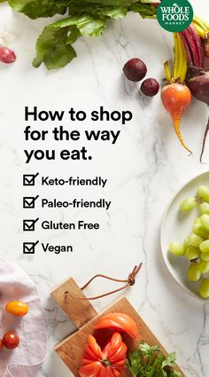 We've got food to fit the way you eat. Here's how to shop. #keto #paleo #vegan #glutenfree #January #MakesMeWhole Healthy Food Habits, Healthy Cooking, Healthy Tips, Healthy Recipes, Healthy Snacks, Healthy Eating, Healthy Groceries, Whole Food Recipes, Low Carb Recipes