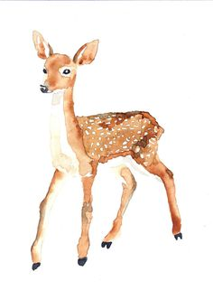 DEER BAMBY Origninal watercolor painting by Mydrops on Etsy, $20.00