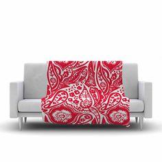 "Agnes Schugardt ""Paisley"" Paisley Red Fleece Throw Blanket"