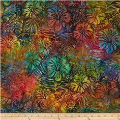 Kaufman Artisan Batiks Totally Tropical Ferns & Flowers Tropical