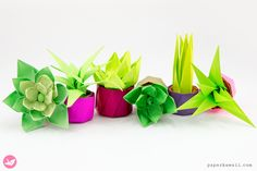 Mini Origami Succulent Plants Tutorial, Learn how to make an origami succulent! These origami plants make perfect gifts & decorations, your friends will love them. No cutting or glue required. Origami Design, Diy Origami, Origami Gift Box, Cute Origami, Origami Star Box, Origami Fish, Origami Folding, Oragami, Origami Boxes