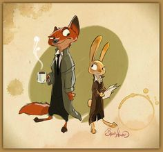 Early noir #Zootopia concept I did of #Nick & #Judy 3 yrs ago. Been fun to see them evolve. #disney @DisneyAnimation