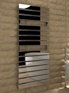 Kudox Designer Towel Rail Tova x Chrome Towel Warmer, Central Heating, Towel Rail, Heating Systems, Radiators, Bathroom Accessories, Chrome, Bathtub, Shelves