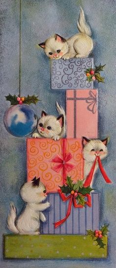 Hallmark Frisky Kitty Cats Play w the Presents Vintage Christmas Card 859 Vintage Christmas Images, Old Christmas, Hallmark Christmas, Old Fashioned Christmas, Retro Christmas, Vintage Holiday, Christmas Pictures, Christmas Greetings, Holiday Cards