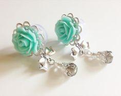Choose Color Rose Ear Plugs 5/8 Dangle Plugs Bow Gauges