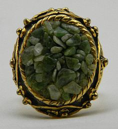 Gold Tone Green Nuggets Adjustable Ring  Size 6 by Elegancegalore, $15.00 #vjse2 #vintage #jewelry #boebot2