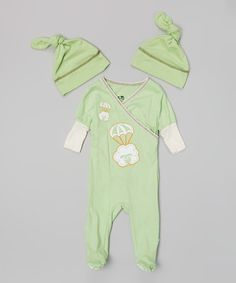 Look at this #zulilyfind! Green Parachute Sheep Surplice Footie Set - Infant by So Rad #zulilyfinds