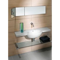 GSI Panorama Square Wall Mounted Ceramic Sink with Chrome Towel Bar 665211-TB