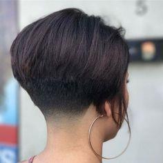 18 Cute And Sexy Undercut Bob Haircut Short Wedge Haircut, Short Wedge Hairstyles, Short Bob Haircuts, Long Bob Hairstyles, Undercut Bob Haircut, Nape Undercut, Pelo Popular, Shaved Bob, Shaved Nape