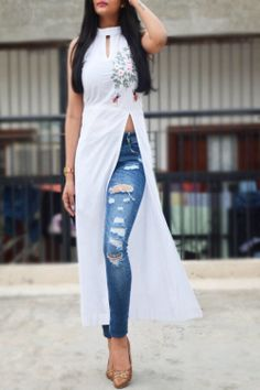 Buy White Pure Linen Embroidered A-Line Kurti by Colorauction - Online shopping for Kurtis in India Indian Gowns Dresses, Indian Fashion Dresses, Dress Indian Style, Indian Designer Outfits, Designer Dresses, Fashion Outfits, Fashion Jobs, Designer Kurtis, Fashion Skirts