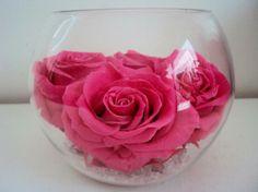 VASE GLOBE VERRE cristaux ROSE X4 éternelle NATURELLE fleur stabilisée préservée