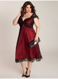 love the color combo, the red dress with the black lace overlay