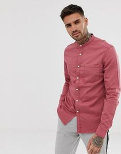 Browse online for the newest ASOS DESIGN stretch slim denim shirt in pink with grandad collar styles. Shop easier with ASOS' multiple payments and return options (Ts&Cs apply). Work Casual, Men Casual, Shirt Sleeves, Long Sleeve Shirts, Asos, Going Out Shirts, Denim Shirt, Shirt Style, Chef Jackets