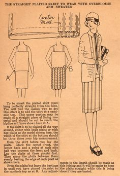 The Midvale Cottage Post: Home Sewing Tips from the 1920s - a Smart Box-Pleated Skirt