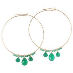 Emerald green onyx hoop earrings