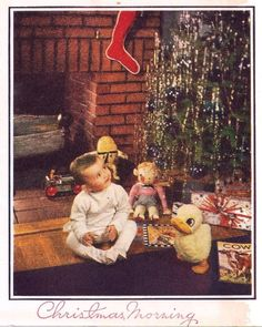 'Little Boy and Toys' Christmas Card. (Etsy) <> The little chap is wearing footed pajamas where the bottoms snapped onto the hem of the top. Christmas Tinsel, Magical Christmas, Christmas Things, Christmas Past, Christmas Morning, Family Christmas, Christmas Holidays, Vintage Christmas Photos, Vintage Christmas Ornaments
