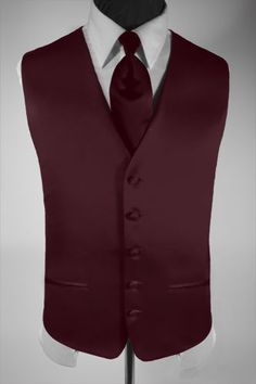 Men's Suit Tuxedo Dress Vest Necktie Solid Burgundy XXL picclick.com